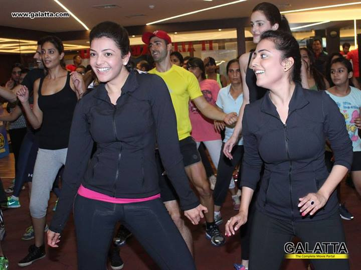 Kajal Aggarwal and her sister launch Zumba session at Golds Gym