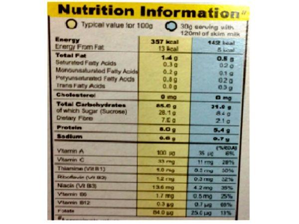 Fat free cereals