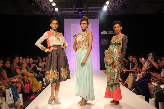 August 2013: Eshaani Jayaswal presented a gorgeous collection titled 'Musings from a Mural' inspired by water colour art at the Tata Nano Talent Box during Lakmé Fashion Week Winter/Festive 2013. The collection showcased a range of bouffant and