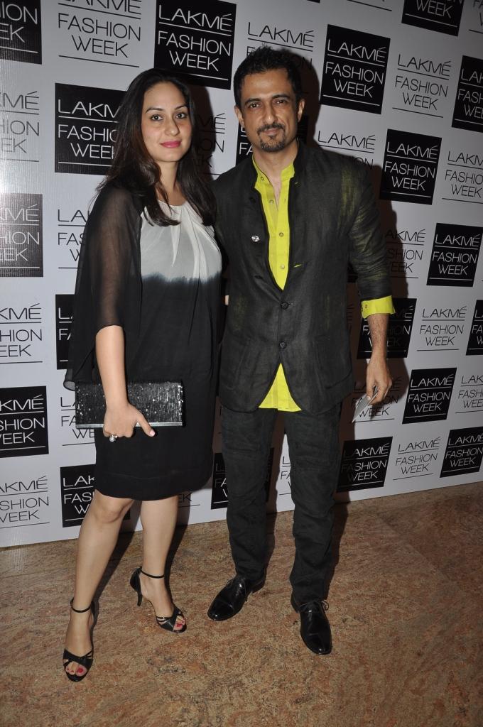 Sanjay Suri: Mesh linen jacket with a lime green shirt