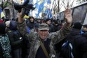 A protestor shouts during a demonstration in support of EU integration in Kiev