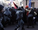Protestors clash with police during a demonstration in support of EU integration in Kiev