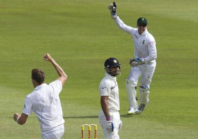 Virat Kohli was caught down the legside off Morne Morkel