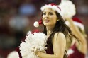 Cheerleader of the Arkansas Razorbacks performs