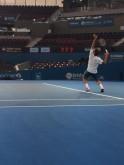 Roger Federer practices