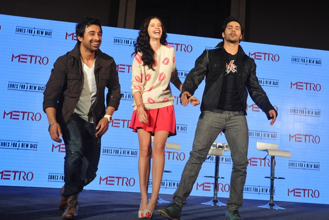 Rannvijay Singh, Kalki and Varun Dhawan attended a shoe brand launch in Mumbai.