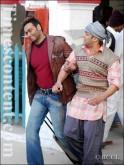 Ajay Devgan and Salman Khan seen during the film shoot of an upcoming Hindi movie