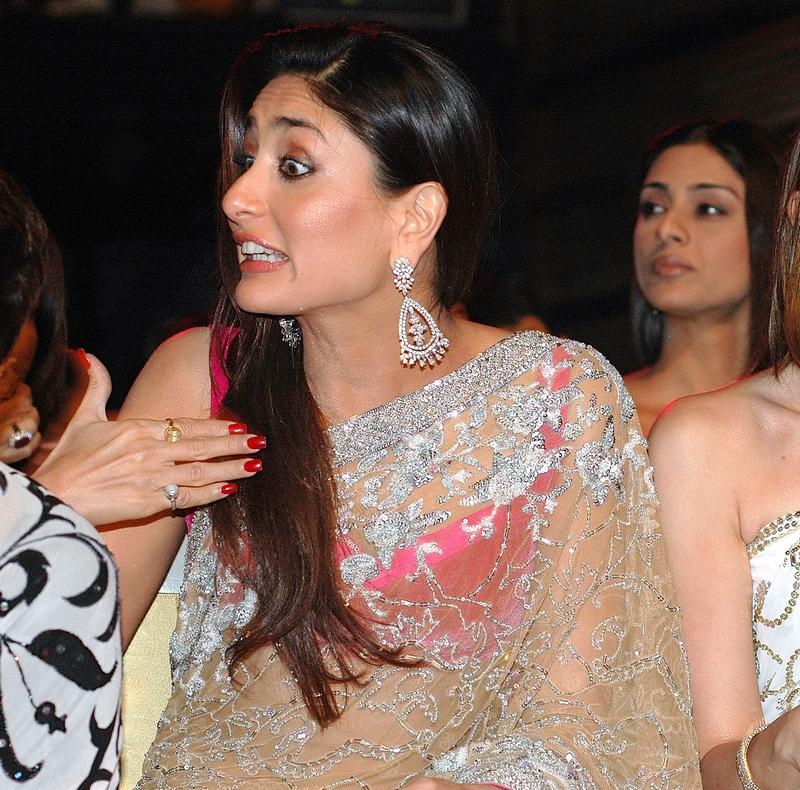 Kareena Kapoor Khan reacts animatedly at the 2008 Filmfare awards.