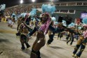 Revellers from Paraiso do Tuiuti samba school dance during the second night of the A Group annual Carnival parade in Rio de Janeiro's Sambadrome