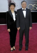 "Best director nominee Ang Lee for the film ""Life of Pi"" and wife Jane Lin arrive at the 85th Academy Awards in Hollywood"