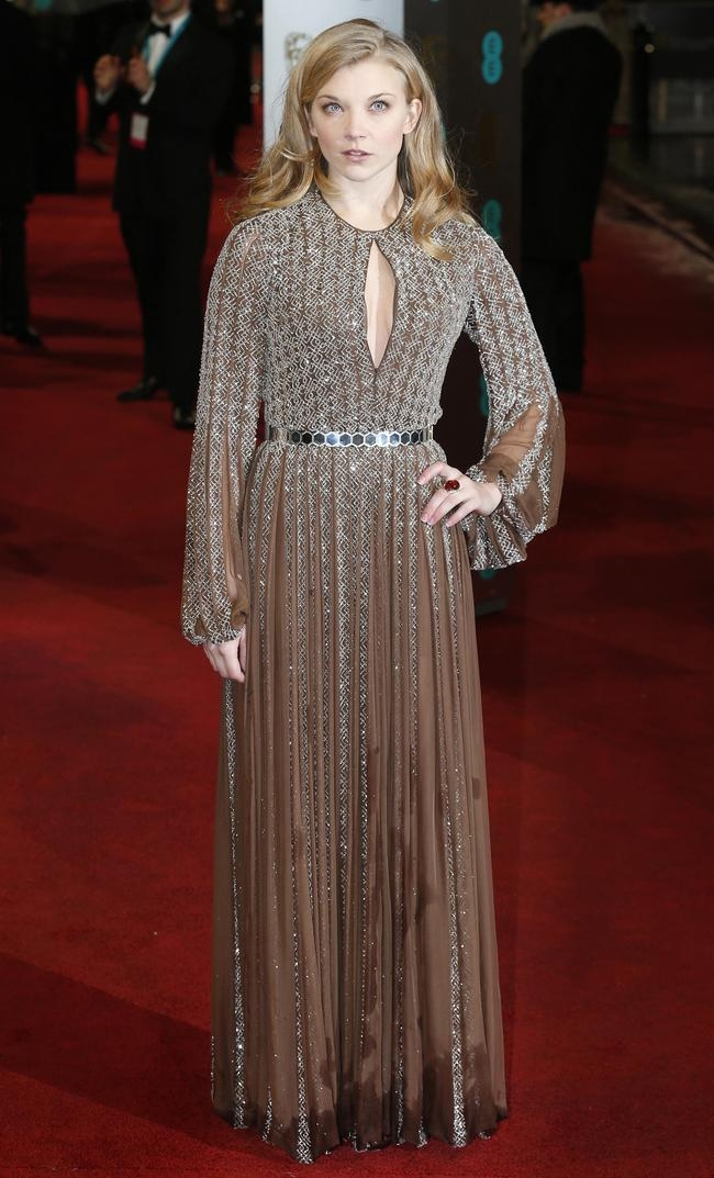 Natalie Dormer poses as she arrives for the British Academy of Film and Arts (BAFTA) awards ceremony at the Royal Opera House in London