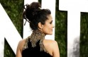 Selma Hayek shows of her hair and the back of her dress at the 2013 Vanity Fair Oscars Party in West Hollywood
