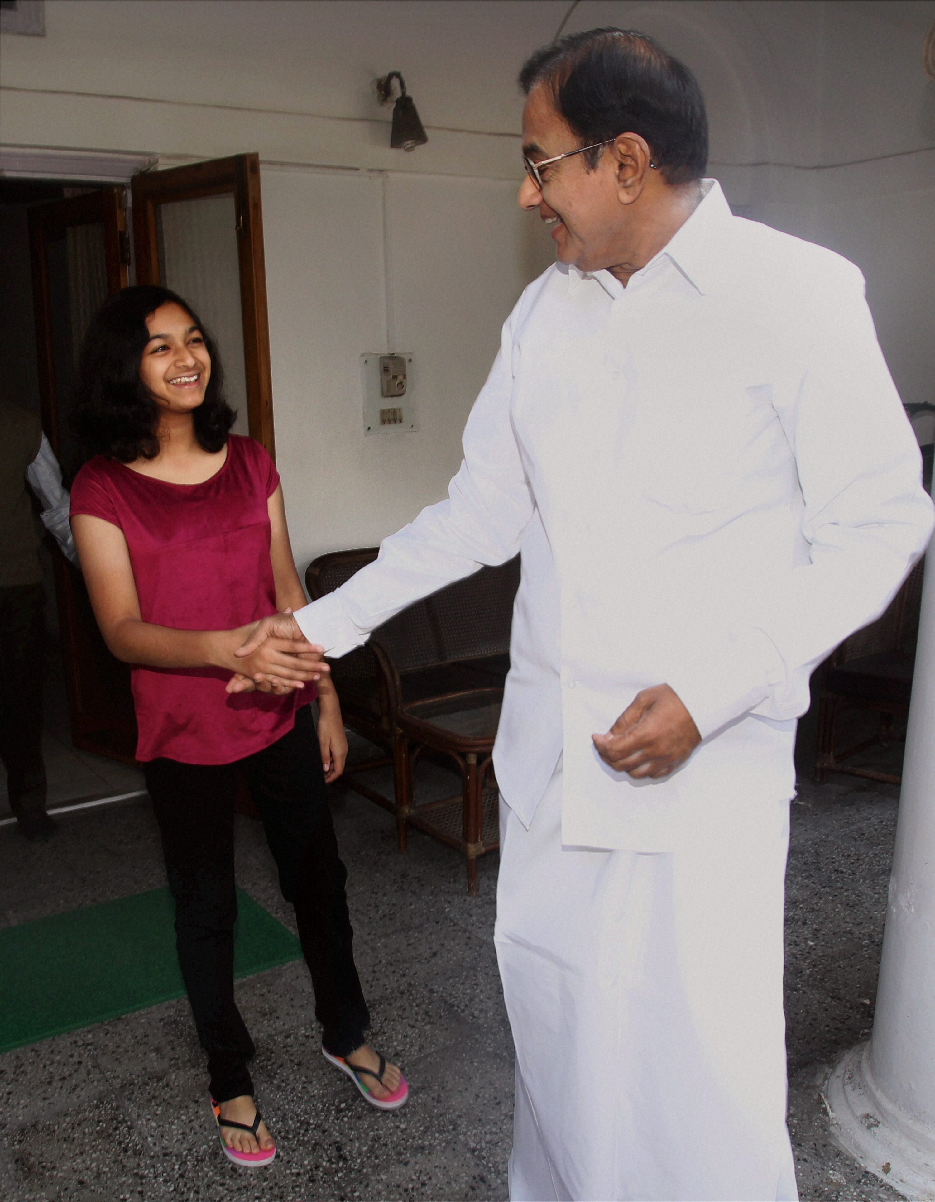 Chidambaram gets ready to head out.