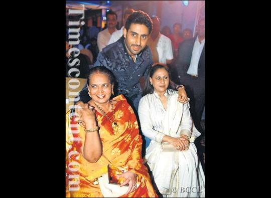 Abhishek Bachchan with his mother - in - law Vrinda Rai and mother Jaya Bachchan, seen during the music launch of upcoming Hindi film