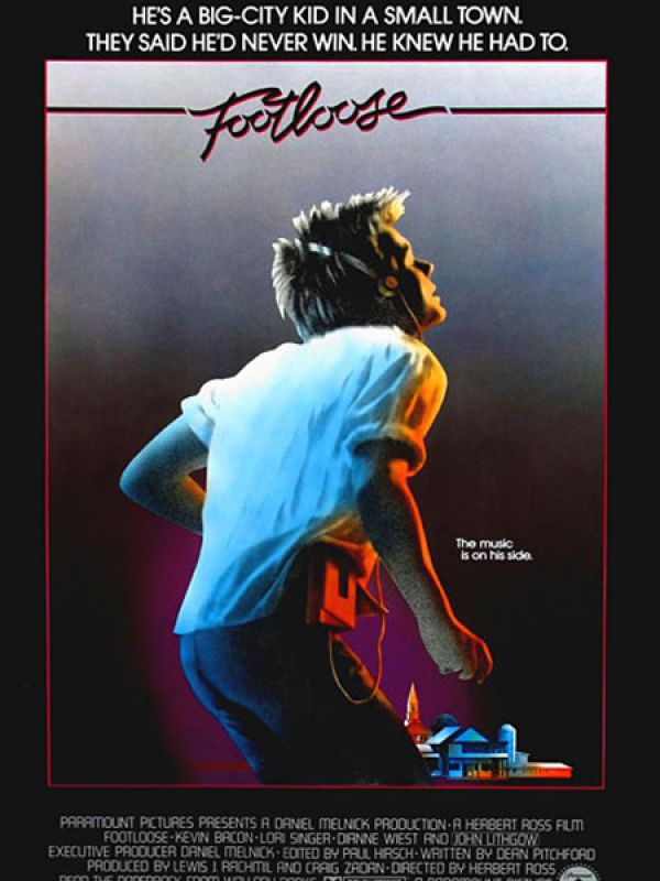 Footloose: Footloose deals with a teenage boy played by Kevin Bacon and the incidents that follow after he moves to a small town which has banned music and dance. The film also has a popular soundtrack and stands out for Bacon's vest-clad dance performance in a mill.
