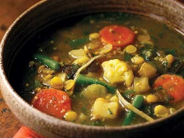 Diabetes Recipe: 5# Soup ideas for DiabeticsGinger, Split Pea & Vegetable Curry (Subzi dalcha)Ingredients    1 large russet or Yukon Gold potato, peeled, cut into 1/2-inch cubes    1/2 cup yellow split peas (chana dal)    1 cup cauliflower florets (1-inch pieces)    1 cup green bean pieces, frozen or fresh (1-inch pieces)    1 small (8 ounces) eggplant, cut into 1/2-inch cubes    1 medium carrot, cut into 1/4-inch-thick slices    1 3/4 teaspoons salt    1/2 teaspoon ground turmeric    1 tablespoon canola oil    1 teaspoon cumin seeds    4 large cloves garlic, cut into thin slivers    1-3 fresh green chiles, such as Thai or serrano chiles, stemmed and thinly sliced crosswise (do not seed)    1 tablespoon cornstarch    1/4 cup finely chopped fresh cilantro    4 long thin slices fresh ginger, cut into matchsticks    Juice from 1 medium lime    1 teaspoon ghee or butter (optional)For the Rest of the Recipe: Click Here