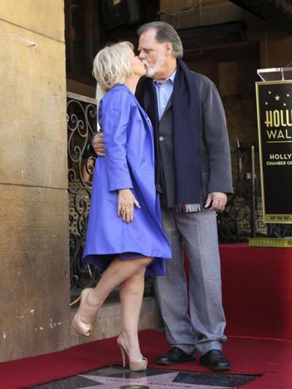 Helen Mirren & Taylor Hackford: Actress Helen smooches husband Taylor last month in Hollywood.