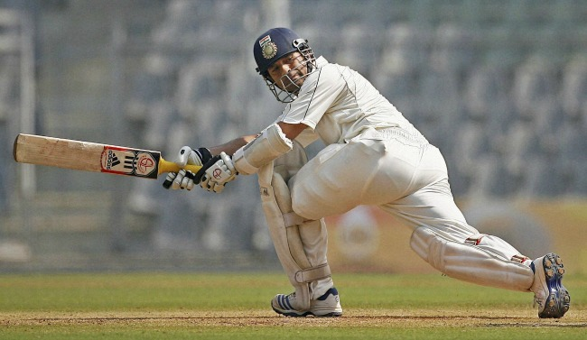 Tendulkar reached his century in 139 balls, with 2 sixes and 12 fours. (Photo: PTI)
