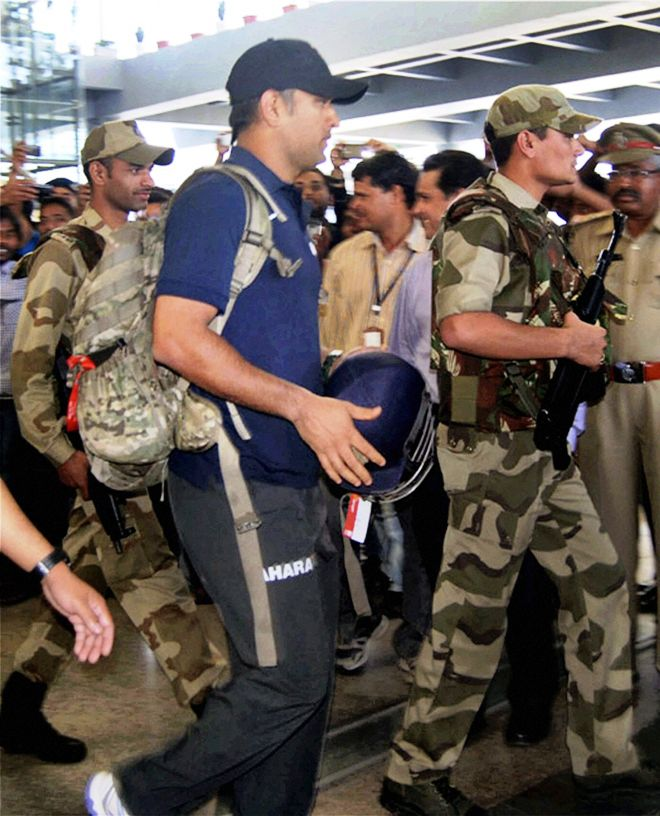 Skipper Mahendra Singh Dhoni arrives at the Rajiv Gandhi International Airport in Hyderabad on Wednesday. (Photo: PTI)