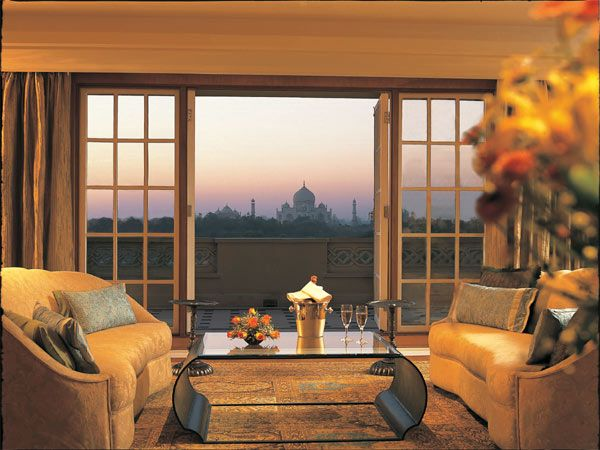 Oberoi Amarvilas, Agra - When you can see the Taj Mahal from your hotel room, the romance quotient is literally a no brainer. The Kohinoor Suite at this property spans across 275 sq m and boasts of a living, dining, study and bedroom.