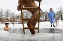 Ice swimmers take a dip in Oranke Lake in Berlin