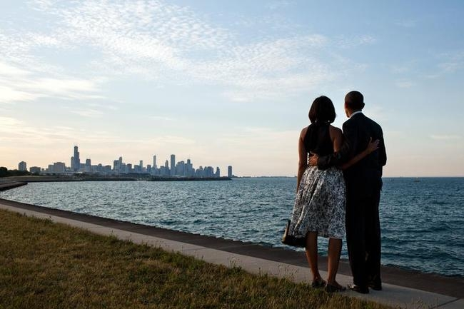President Barack Obama and First Lady Michelle Obama Arrive In Chicago