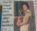 One-D singer reveals STD worries after koala incident