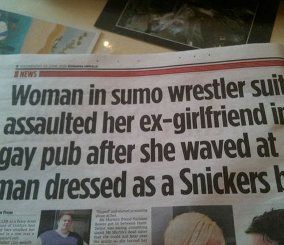 Woman in sumo wrestler suit assaulted her ex-girlfriend