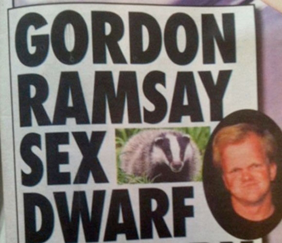 Gordon Ramsay sex dwarf eaten by badger