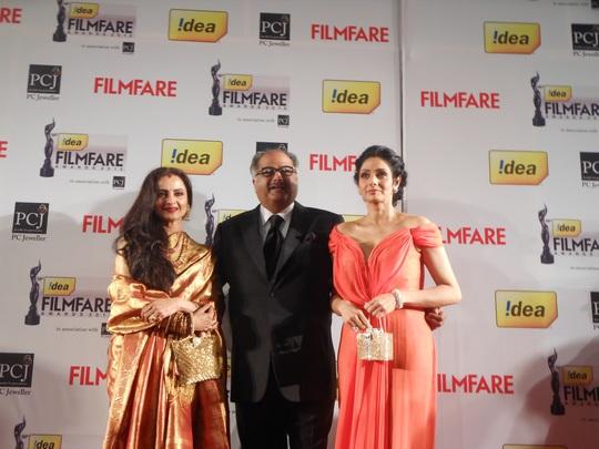 Rekha, Boney Kapoor, Sridevi