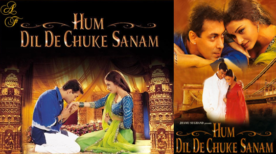 HUM DIL DE CHUKE SANAMThe film's royal looking posters became instant head-turners – huge, splashy sets and an alluring couple were there to form the overall appeal, after all! That the film flaunted a touching love story formed inside an awe-inspiring, ultra-grand haveli, was as plain as day the moment the imposing posters released, back then. SLB was surely in top form, underlining every detail of his each film outing – be it posters, promos or presentation.