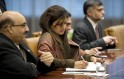Pakistani Foreign Minister Hina Rabbani Khar signs the guest book of the United Nations Secretary General Ban Ki-moon on January 15, 2013 at the United Nations in New York.