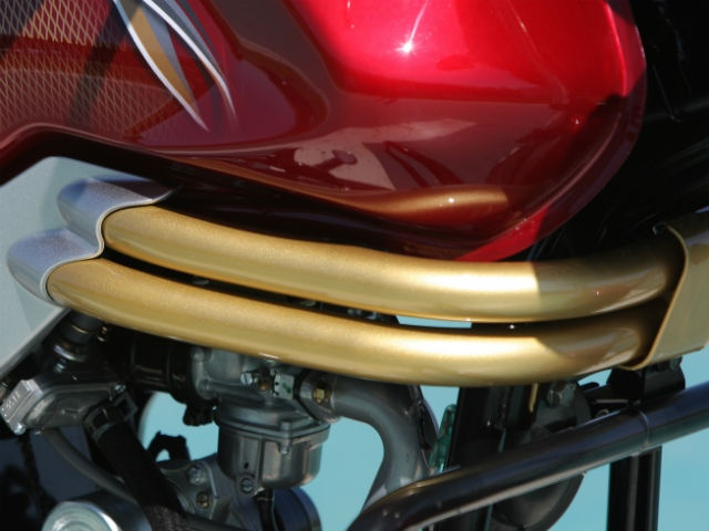 Gold bars above the engine to add more flair to the bike's design.