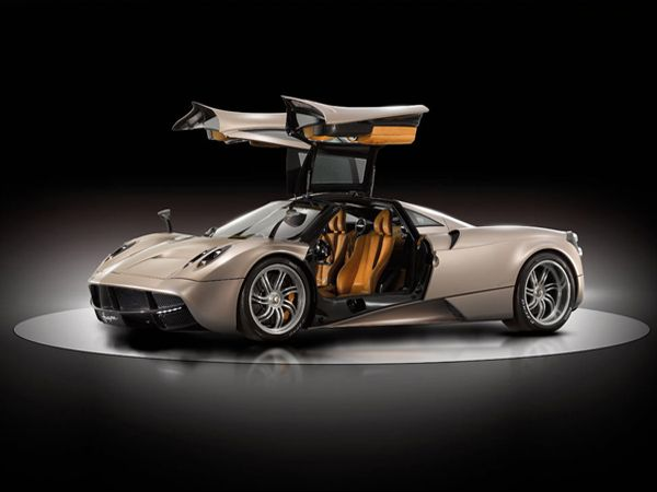 Aptly titled to reflect 'God of the winds', the Huayra is an exceptionally long, sleek and, grounded rear-engined car. Shaped like a wing, this two seater sports car has some really killer gull-wing doors.