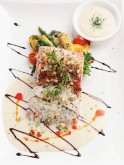 Char grilled salmon with gremolata