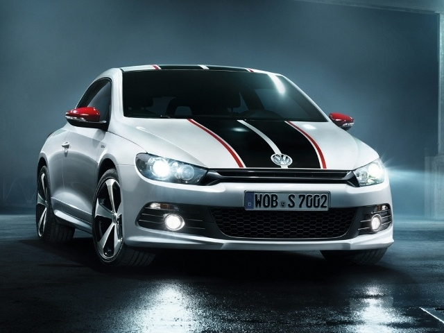 The Volkswagen Scirocco GTS gets red and black stripes running up the bonnet, roof and tailgate, custom-designed front and rear bumpers, exposed side sills, black 18-inch 'Thunder' alloy wheels, a diffuser and a roof-edge spoiler from the Scirocco R