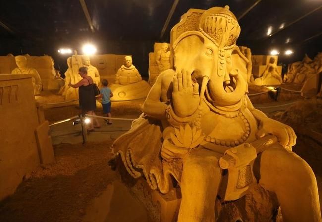 A sculpture representing the Hindu deity Lord Ganesha is seen at the Sand Sculpture Festival in Blankenberge, northern Belgium