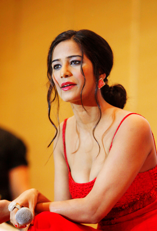 Poonam Pandey promotes her upcoming film, Nasha, in Hyderabad.