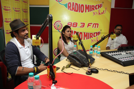 Arjun Rampal, Huma Qureshi, Nikhil Advani at Radio Mirchi studio to promote their film, D-Day.