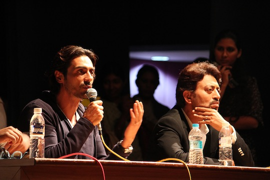 Arjun Rampal and Irrfan promoted their movie D Day at a college in Pune where they interacted with the students in a seminar