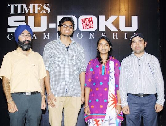Times Sudoko Championship from left Harmeet Singh, Varun M Sheety, Deepika M and Rajesh Kumar