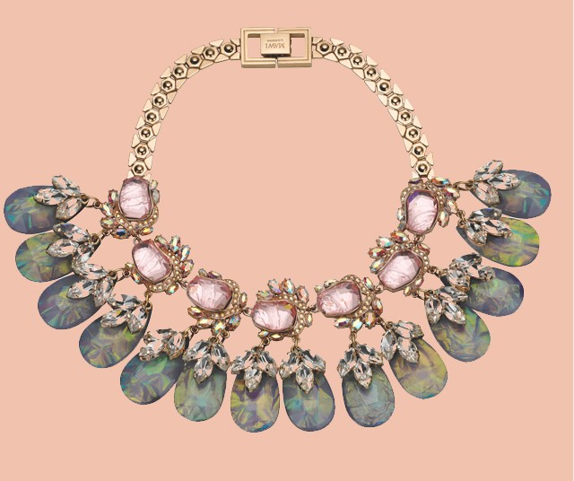 What: Flower Gemstones Necklace with crystal leaves and teardrop.