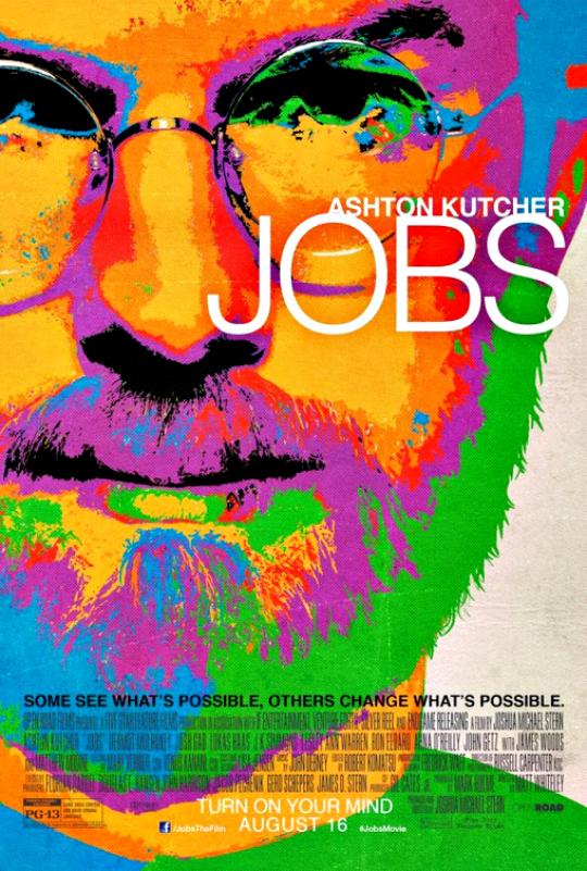 Movie: JOBS  Cast: Ashton Kutcher, Josh Gad, Ahna O'Reilly, Dermot Mulroney, Matthew Modine, J. K. Simmons, Lukas Haas  Director: Joshua Michael Stern  Release Date: August 16, 2013  Trailer