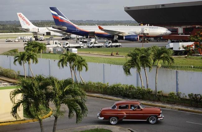The Aeroflot aircraft for the SU150 Moscow-Havana flight is seen at Havana's Jose Marti International Airport