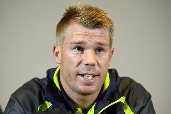 Australian cricket player David Warner speaks to the media in London