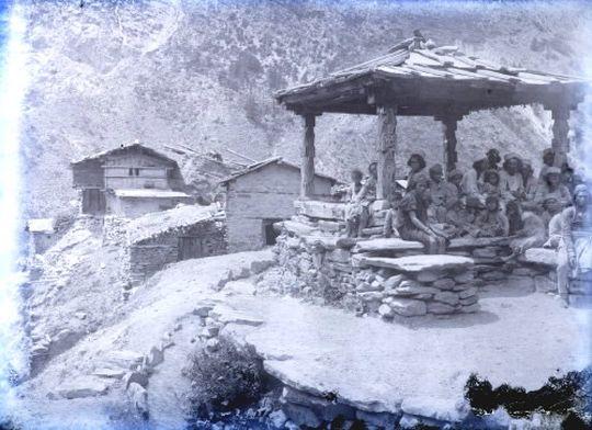 Village scene Mahari Shanti Ganga Valley 1882