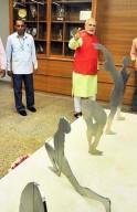 Gujarat Chief Minister Narendra Modi after inauguration of Swarnim Sankul building at Gujarat Assembly in Gandhinagar