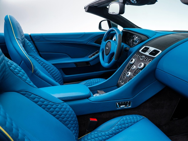 A direct descendent of the One-77 centre stack, the Vanquish and Vanquish Volante's set-up retains familiar elements such as the ECU engine start button and gear selection buttons while featuring a new infotainment system and a significantly more user-friendly design