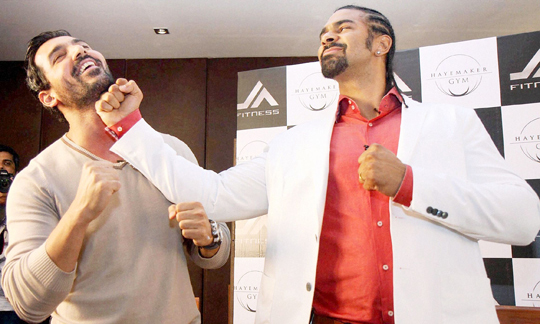 John Abraham and former WBA heavyweight boxing champion David Haye after a press conference for a fitness franchise announcement, in Mumbai, on 26th June.