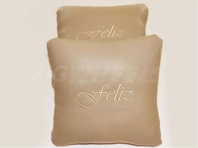 Car pillows with Feliz branding